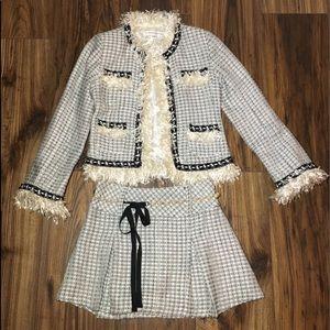 Monkey Wear Vintage Girls Skirt Suit